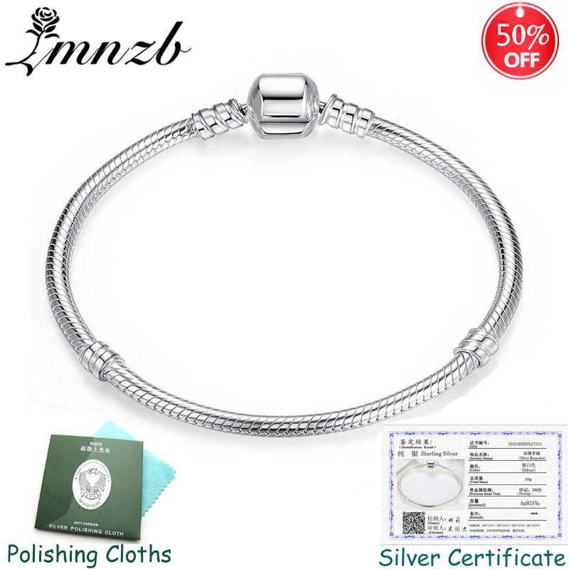 Sent Certificate! Original 925 Solid Silver Charm Bracelets Bangles for Women Long 16-23cm Snake Bone Bracelets Wedding Jewelry