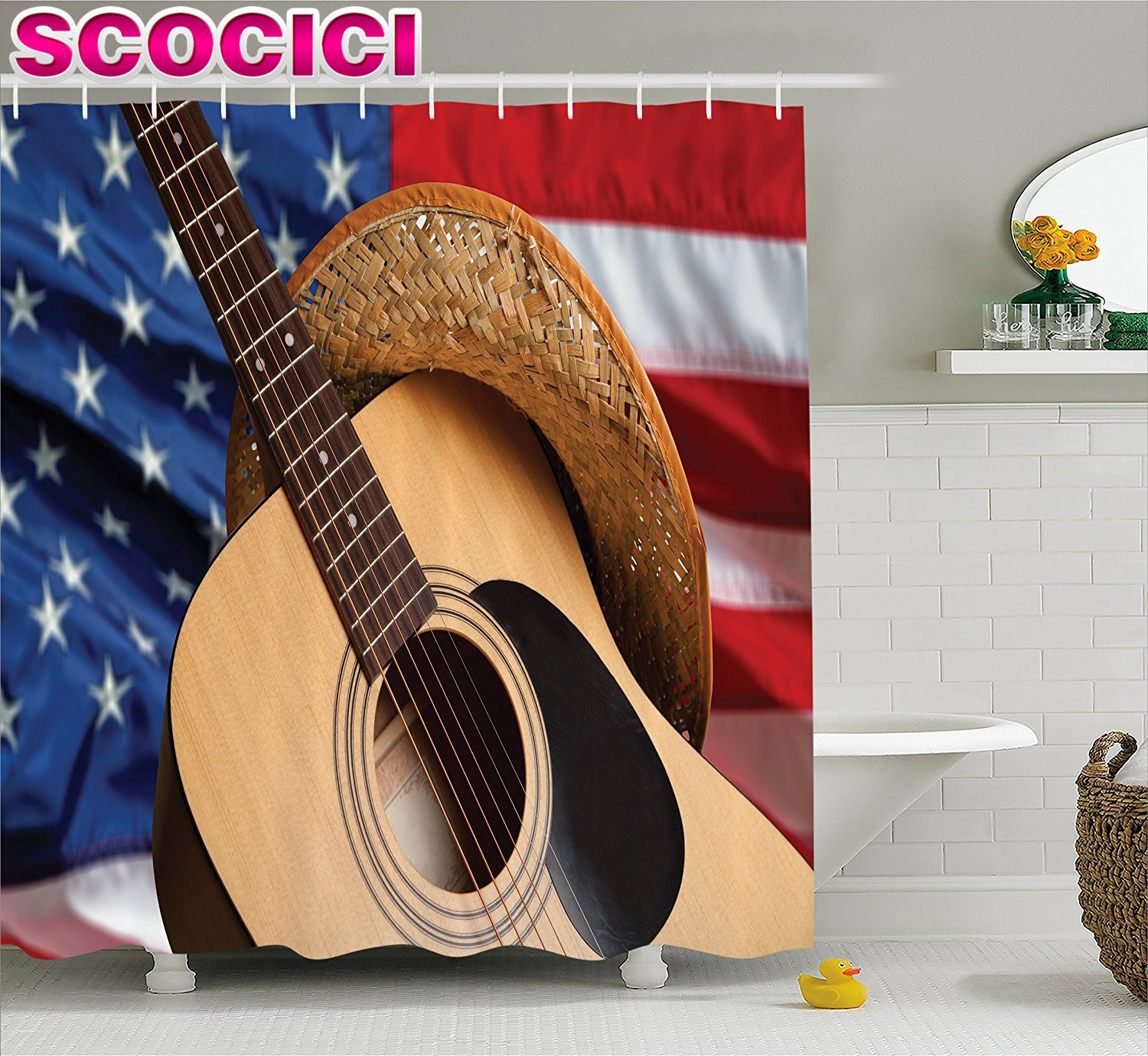 Country western shower curtains - Western Decor Shower Curtain Country Music Acoustic Guitar With American Flag Popular Fourth Of July Festive