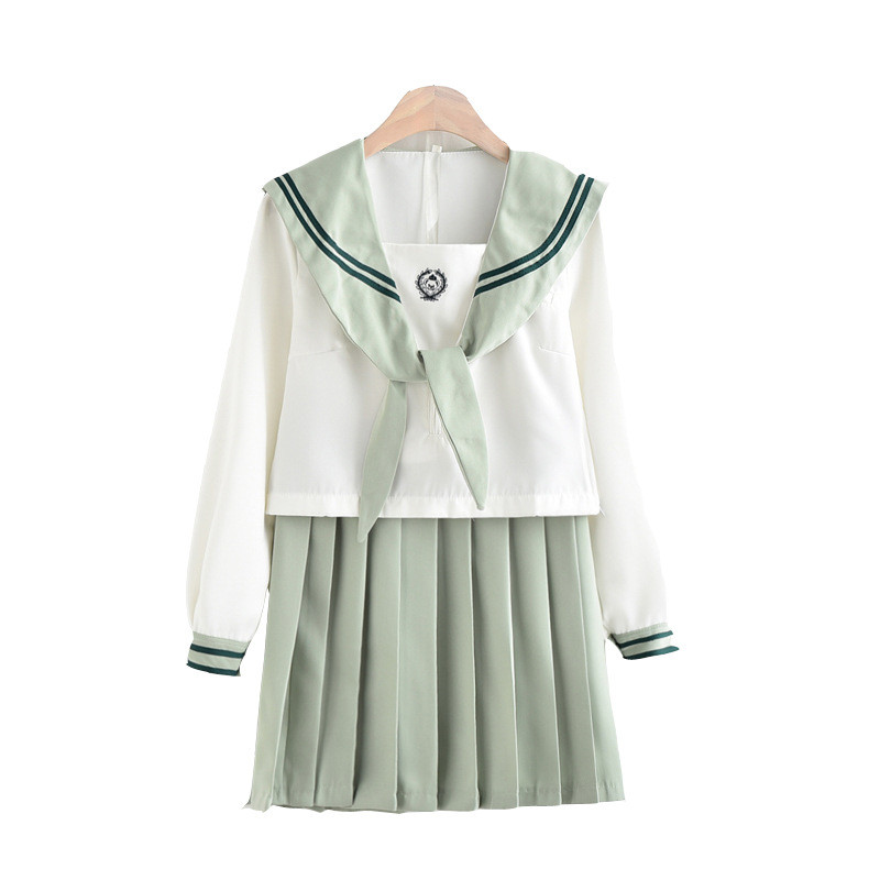 Japanese Student College School Uniform Sweet Jk Sailor Suits <font><b>Lolita</b></font> Pleated Skirt Suits Bow Collar White Shirts Mini Skirt Sets image