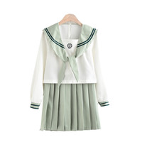 Japanese Student College School Uniform Sweet Jk Sailor Suits Lolita Pleated Skirt Suits Bow Collar White Shirts Mini Skirt Sets