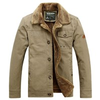 New autumn Large Size brand military Fleece Coat & jacket Man pockets stand collar design plus size Cargo casual coat men Green