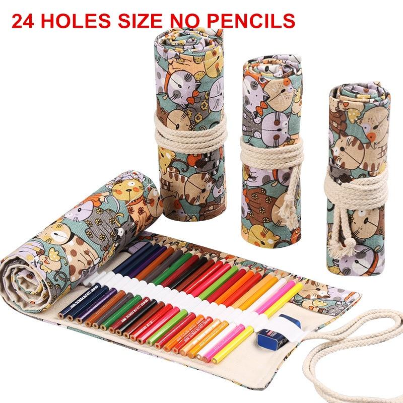 24 Holes Pencil Case Fabric School Supplies Art Pencil Pouch Canvas Pen Wrap Roll Makeup Brush Pen Storage Stationery Student