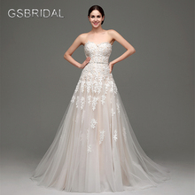 GSBRIDAL A Line Lace Appliques Back Lace Up Bridal Wedding Gown