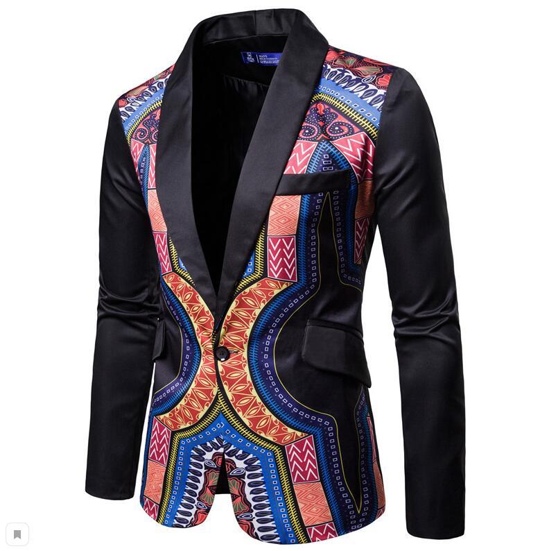YUNCLOS мужской пиджак в национальном стиле, блейзер для свадебной вечеринки, модный вечерний пиджак с принтом, приталенный мужской пиджак с воротником-шалью - Цвет: Черный