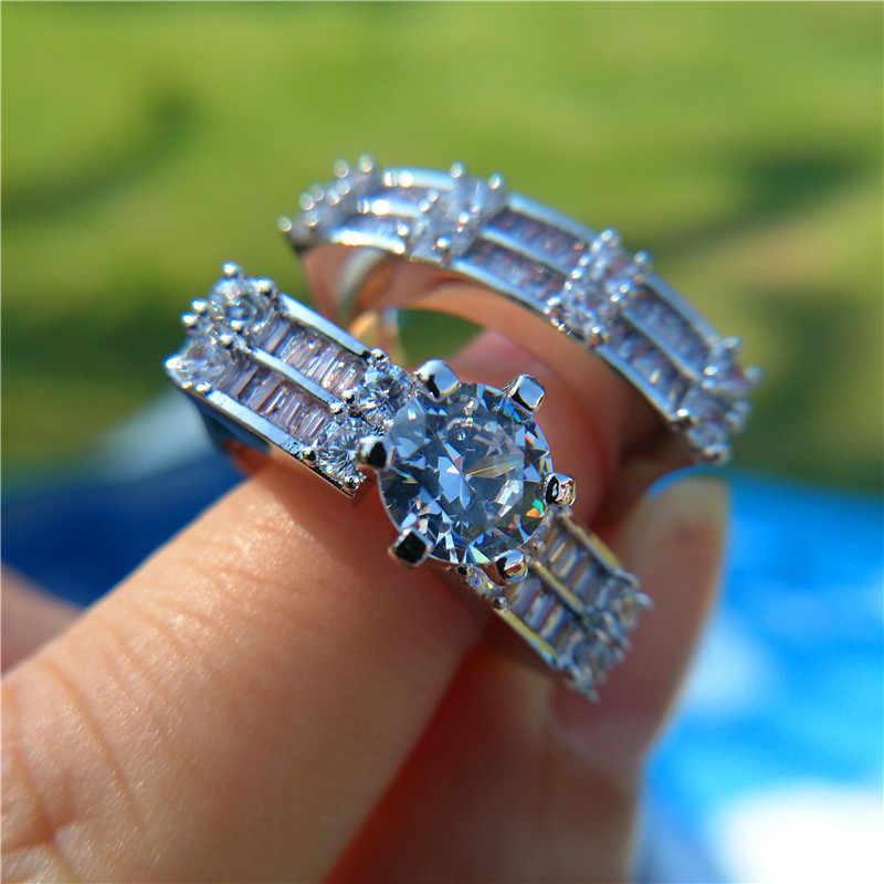 คริสตัลหญิง Big Stone แหวน Boho แฟชั่น Queen 925 เงินเจ้าสาวหมั้นแหวนสัญญารักแหวนนิ้วมือ