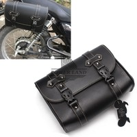 For Harley Sportster XL883 Honda Suzuki Kawasaki Black Motorcycle PU Leather RetroTool Bag Luggage Motorbike Saddle Bag Pannier