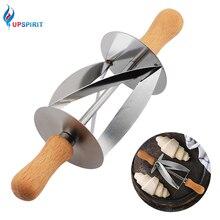 Upspirit из нержавеющей стали прокатки резак для приготовления Круассанов Хлеб колесо тесто Кондитерские деревянная ручка ножа выпечки кухонный нож