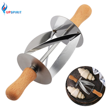 Upspirit Stainless Steel Rolling Cutter for Making Croissant Bread Wheel Dough Pastry Knife Wooden Handle baking Kitchen Knife cheap Pastry Cutters Eco-Friendly S01HG309127 Baking Pastry Tools CE EU LFGB Rolling Croissant Cutter Wood+Stainless Steel430