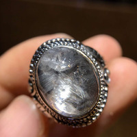 Adjustable Ring Natural Brookite Platinum Silver Rutilated Quartz 925 Sterling Silver Ring 14.4x11.3mm Woman Men Lucky Stone