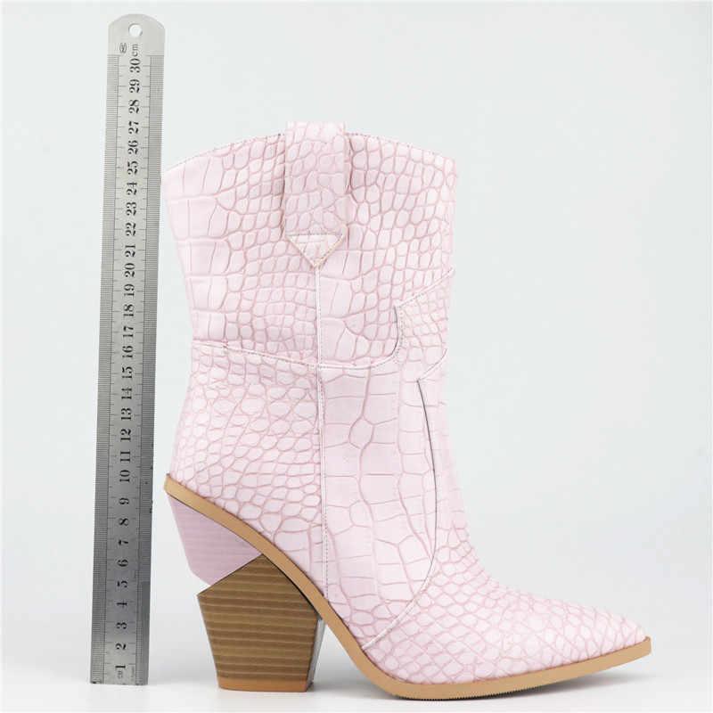MORAZORA 2019 Yeni Marka kadın çizmeler sivri burun takozlar ayakkabı sonbahar kış çizmeler kısa bayanlar Batı yarım çizmeler kadınlar için