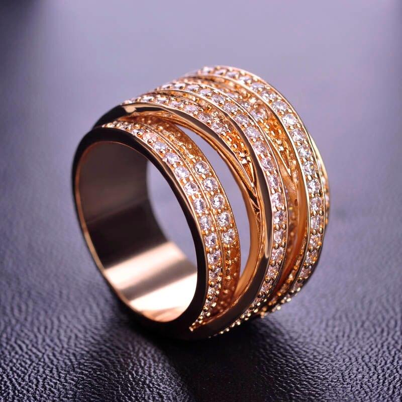 MECHOSEN Luxe Zirconia Ringen Accessoires Multilayer Zilver Kleur - Mode-sieraden - Foto 3
