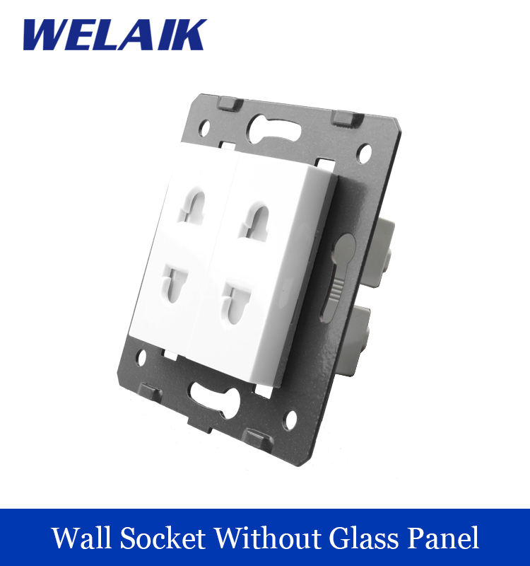 все цены на WELAIK EU Standard 2-hole multi-function socket  DIY Parts  White Wall  Socket parts Without Glass Panel A82TS онлайн