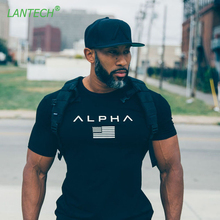 LANTECH Men Bodybuilding Muscle Workout Shirt Sports Sportswear Running Fitness Gym Compression Tights Shirt Clothes Jerseys