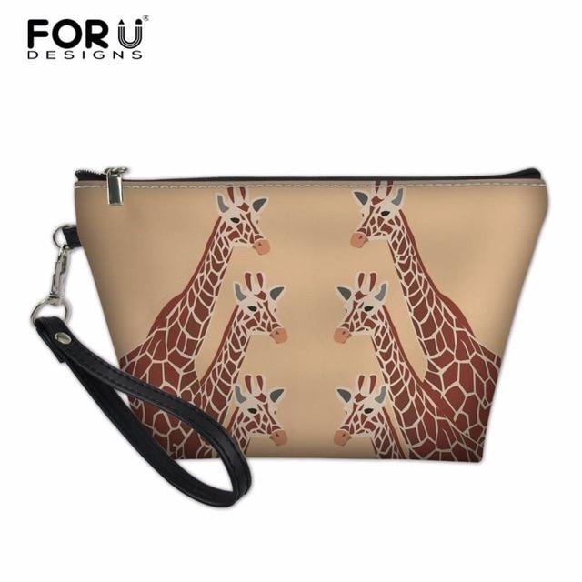 Forudesigns Women Makeup Bag Giraffe Las Cosmetic Small Pu Leather Make Up Zipper Holder