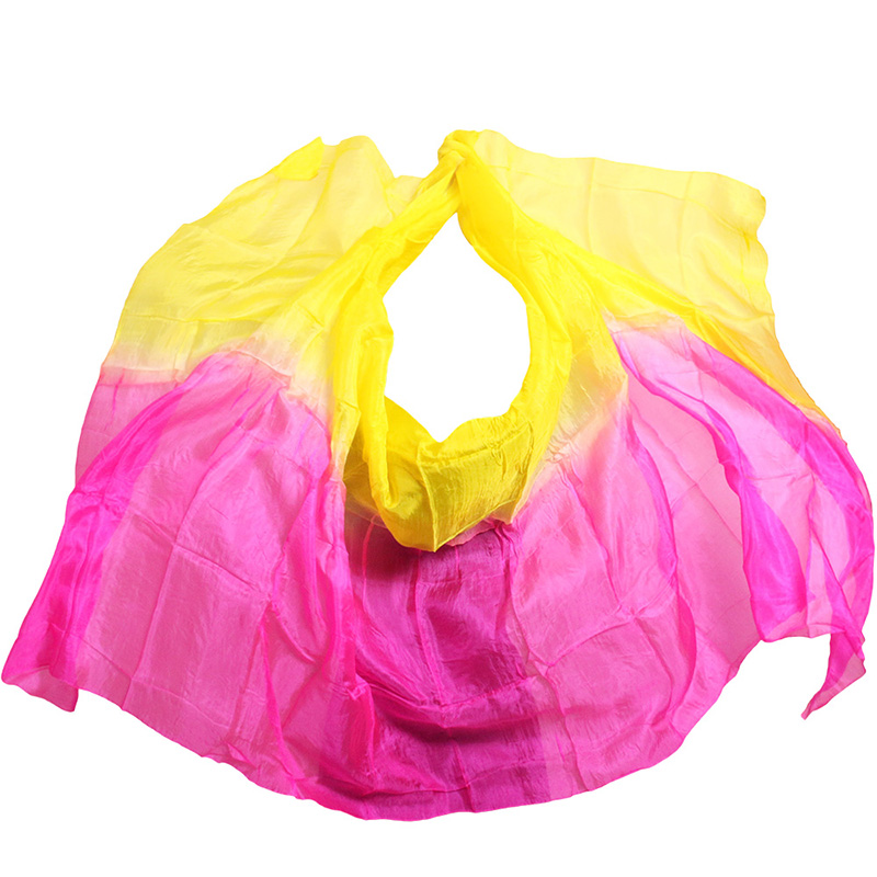 Silk Belly Dance Veil Belly Dance Veil Shawl Scarf Rose Yellow Color Belly Dance Practice Performance