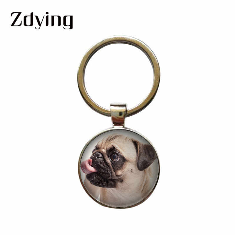 ZDYING Pet Dog Terrier Pug Keyring Key Chain Glass Cabochon Metal Poodle Teddy Charm Bag Purse Pendant Car Holder Key Ring