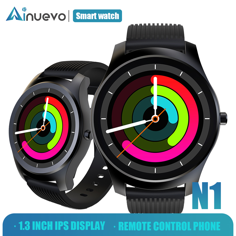 Ainuevo N1 Fashion Smart Watch Man 1.3 inch Whole-Circle IPS High-Definition LCD Heart Rate Monitor Blood Pressure circle