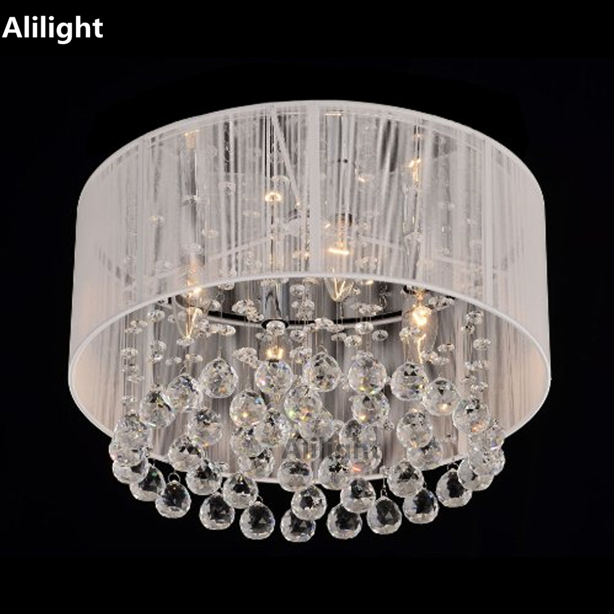 Contemporary Ceiling Light Simple Crystal Ceiling Lamp Drum Shape Flush  Mount Lighting Dining Room Indoor Lighting
