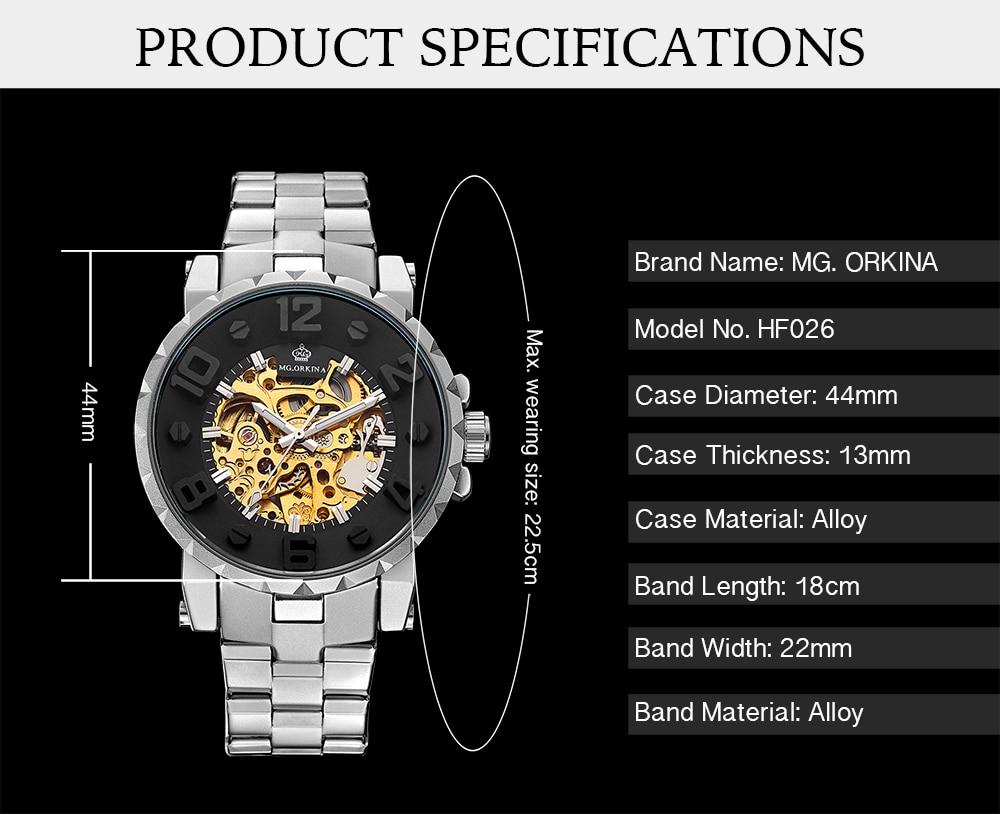 Orkina relógios masculinos marca de luxo esqueleto