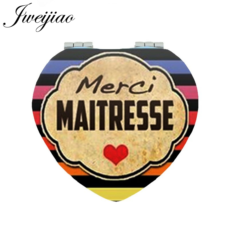 JWEIJIAO Super Maitresse love Printing makeup mirrors make in leather Merci Maitresse game Compact mirror CT290