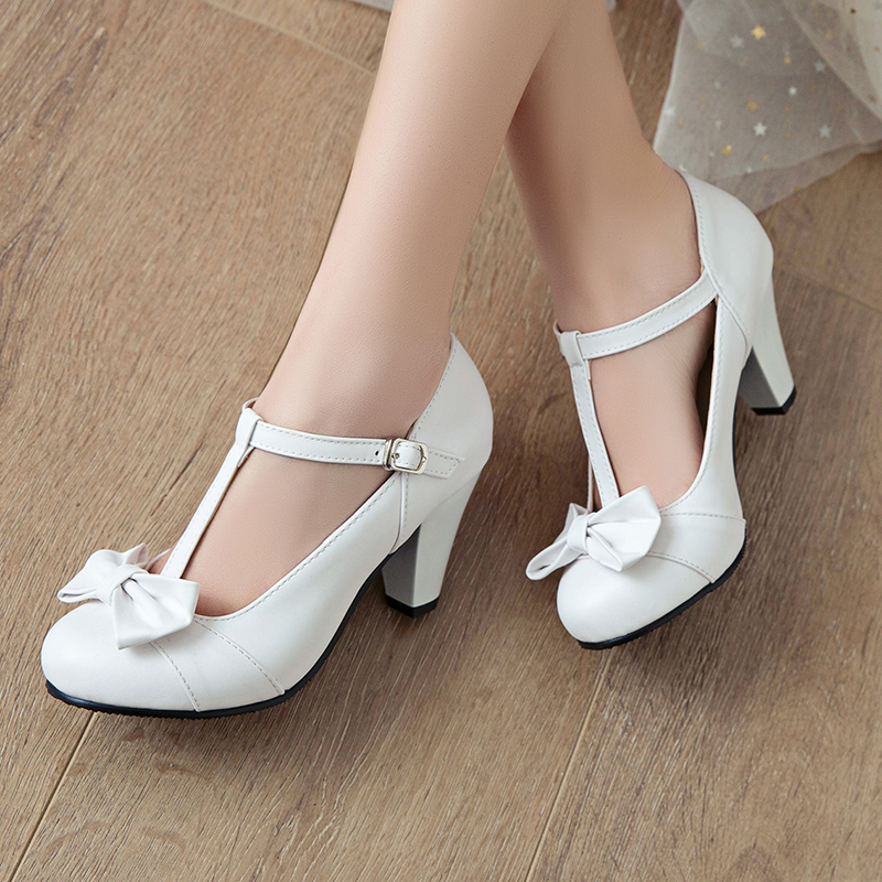 Womens Low Chunky Heel Shallow Bowknot Sweet Lolita Pumps Shoes Wedding Plus Size 34 - 48