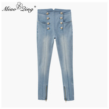 ปุ่มกระชับกางเกงยีนส์สำหรับสุภาพสตรีดินสอกางเกง Slim MIAOQING เอวสูงกางเกงยีนส์สำหรับสุภาพสตรี