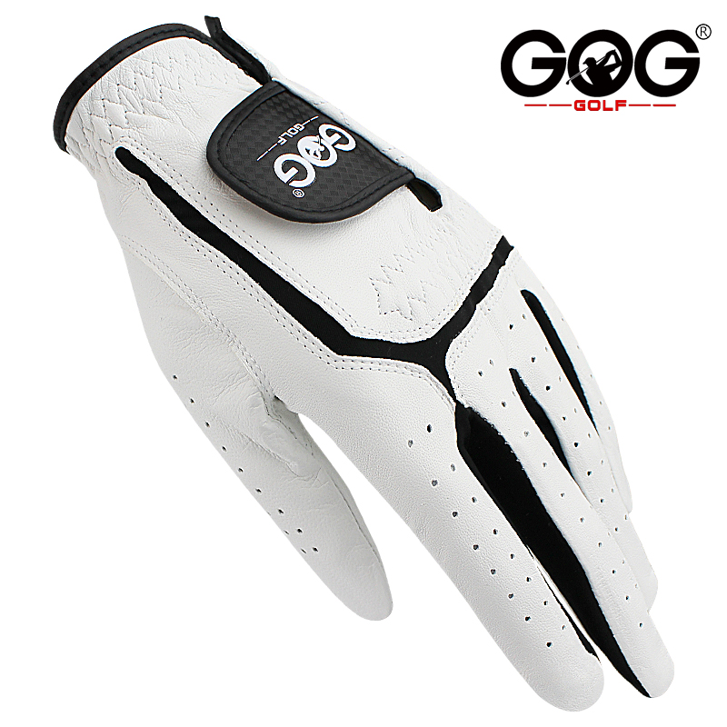 GOG Golf gloves Genuine sheepskin leather for men left hand white Breathable gloves for golfer Free shipping 1 pcs new dropship(China)