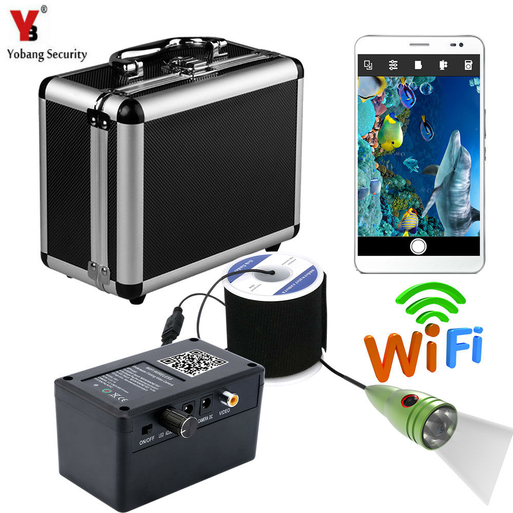 Yobang Security APP Conrol White LED Underwater Ice/Sea Fishing Camera Video DVR Recorder 1000Tvl WIFI Fishfinder Camera Kits