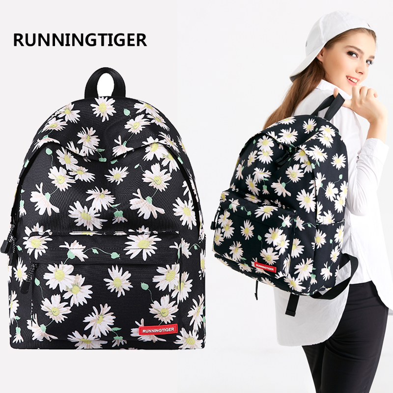 Runningtiger Backpack Women Printing Backpack Flowers School Bags For Teenagers Travel Backpack Mochila Escolar Trousse Scolaire