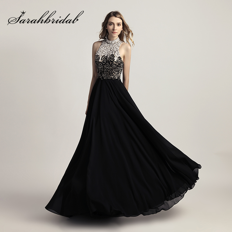 Hot Sale New Arrival Chiffon Black Long Prom Dresses with Full Top ...