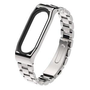 Image 5 - Mi Band 5 Strap Global NFC Metal Stainless Steel Strap For Xiaomi Mi Band 4 Bracelet MiBand 3 Strap Wristband Smart Watch  Wrist