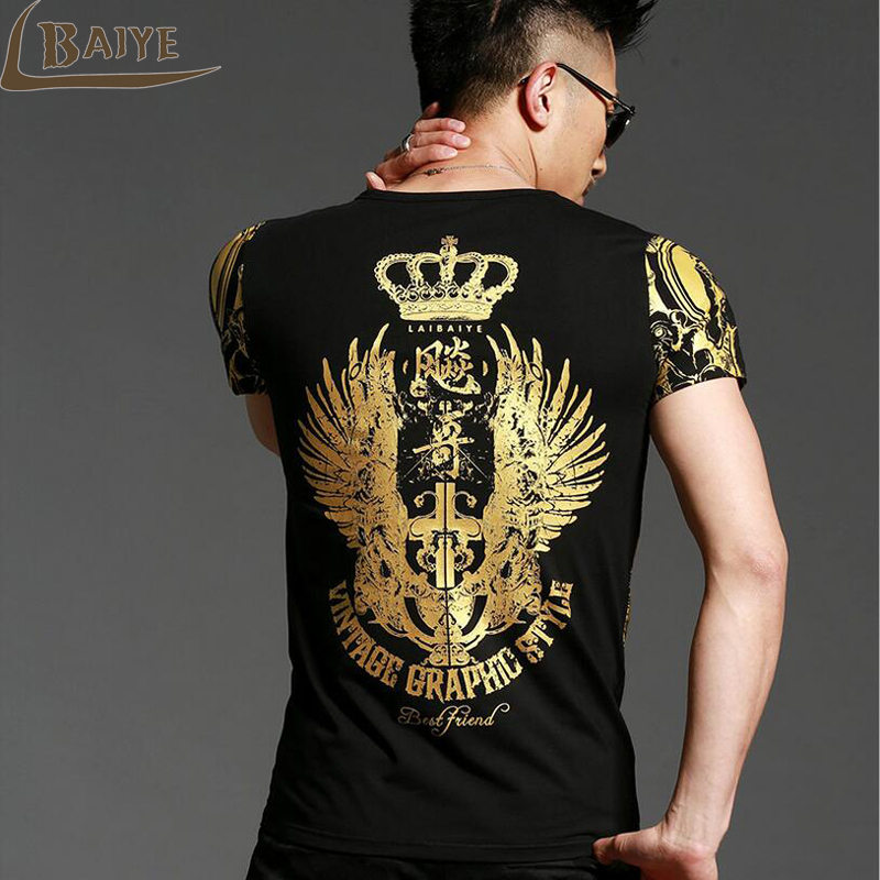 2018 Mens Casual   T     Shirts   O-neck Black Gold Bronzing Angel Wings Cross 3d Print Men's Short Sleeve Slim Men   T  -  Shirts   Tops Tee