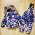 Russian winter children clothing sets cotton padded down jacket fur collar hooded boys girls snowsuit thicken toddler outerwear