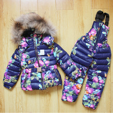 Russian winter kids clothes units cotton padded down jacket fur collar hooded boys ladies snowsuit thicken toddler outerwear