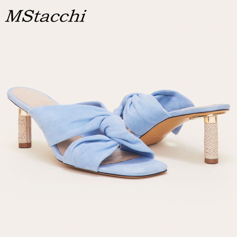 MStacchi جديد أزياء المرأة الكلاسيكية تصميم فراشة Kont Sweer الصنادل الصيف حذاء كاجوال امرأة جلد طبيعي عالية رقيقة الكعوب-في شباشب من أحذية على  مجموعة 1