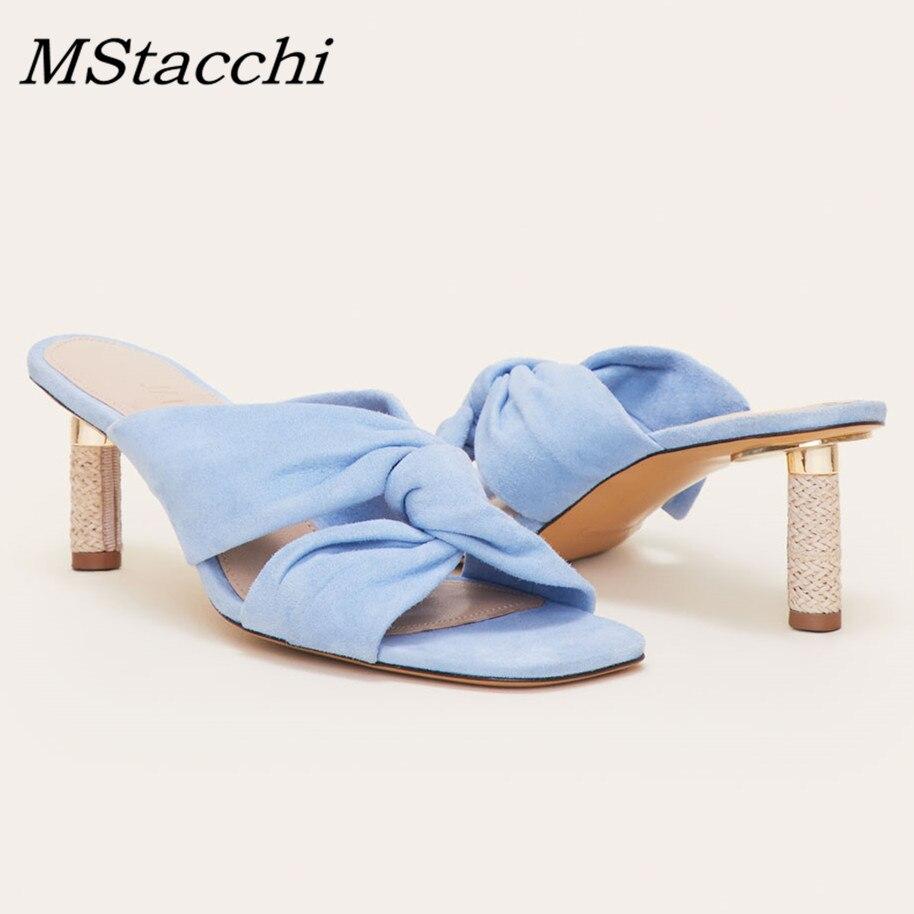 MStacchi nowa moda kobiet klasyczny Design Butterfly Kont Sweer sandały letnie buty w stylu casual kobieta prawdziwej skóry wysokie szpilki w Kapcie od Buty na  Grupa 1