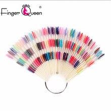 Fingerqueen 50 pçs/set 3 dicas prego cor gráfico paleta em forma de ventilador 150 cores da arte do prego prática design treinamento polonês cartão de cor