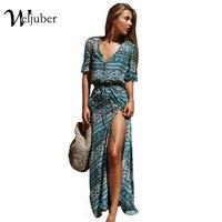 Weljuber Women Beach Boho Maxi Dress 2017 Summer High Quality Deep V Neck Print Vintage Long