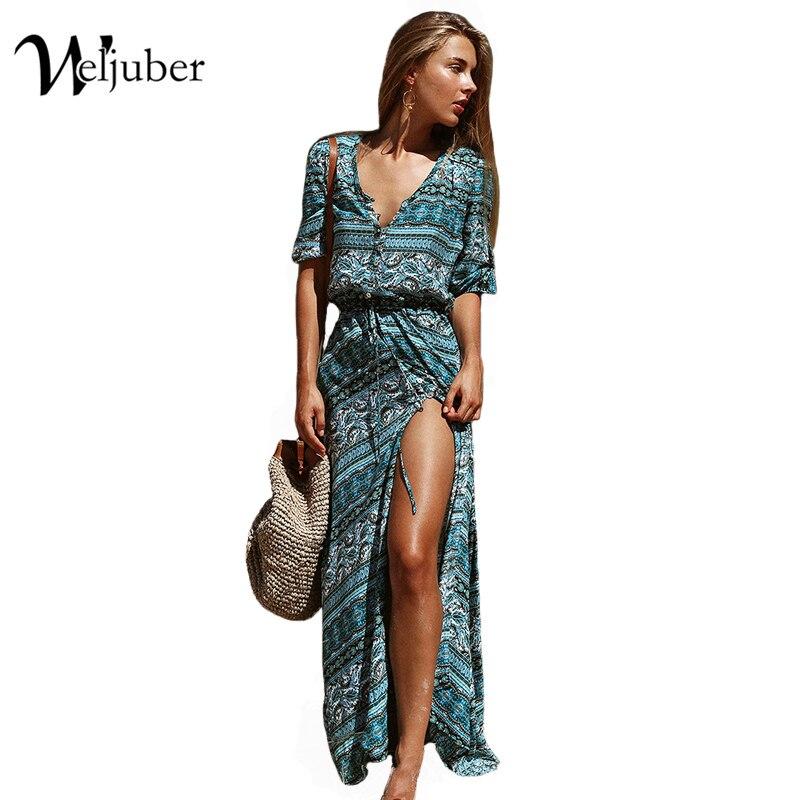 d892ca2bba4 Weljuber Women Beach Boho Maxi Dress 2017 Summer High Quality Deep V-neck Print  Vintage Long Dresses Feminine Plus Size hot