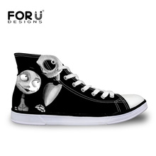 FORUDESIGNS Vintage Punk Skull Printed Vulcanized Shoes for Ladies Casual Women High Top Canvas Shoes Female Black Lace up Flats