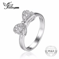 JewelryPalace Bow Cubic Zirconia Anniversary Wedding Ring For Women Soild 925 Sterling Silver Jewelry For Girl