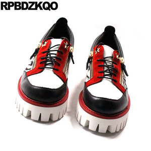 Image 2 - حذاء جديد فاخر من Oxfords بتصميم زاحف من المطاط وطرف معدني من الجلد الطبيعي حذاء رجالي عصري غير رسمي عالي الجودة بسوستة مقاس كبير