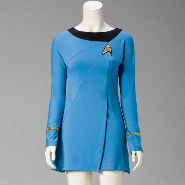 Classic Star Trek Female Duty TOS Blue Uniform Red Dress Cosplay Costume Adult 2