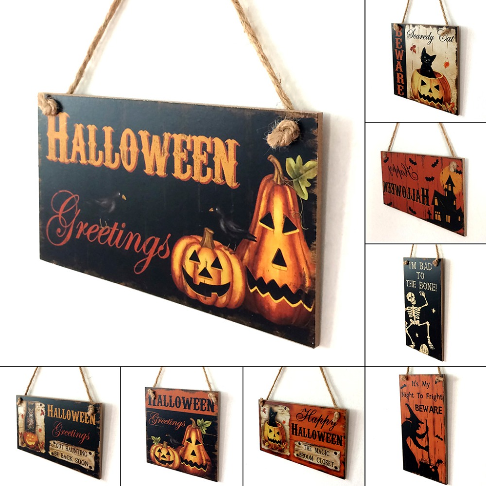 1pc happy halloween decoration wooden hanging plaque board sign home wall window art decor halloween pumpkin