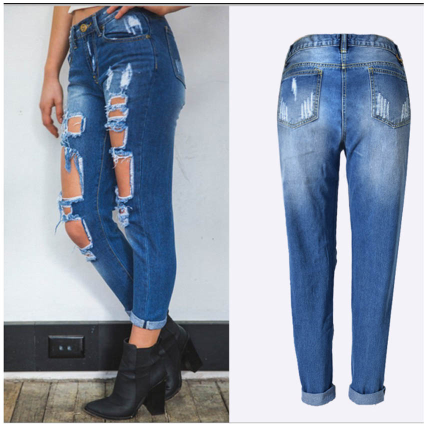 Ripped Ankle-Length Jean Pants Women Casual Loose Jeans Holes Girl Summer Vintage Blue Washed Black jeans Female