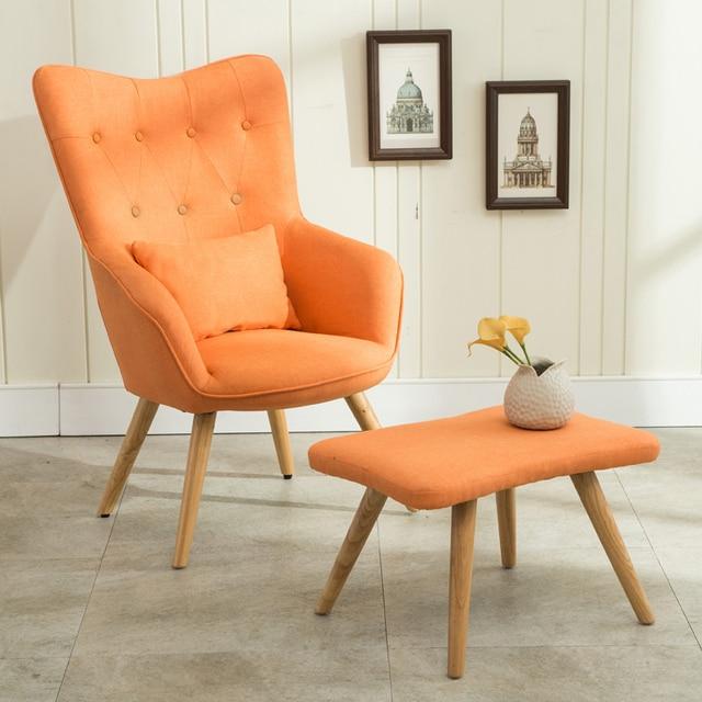 Mediados de siglo moderno sillón y reposapiés conjunto de lino ...