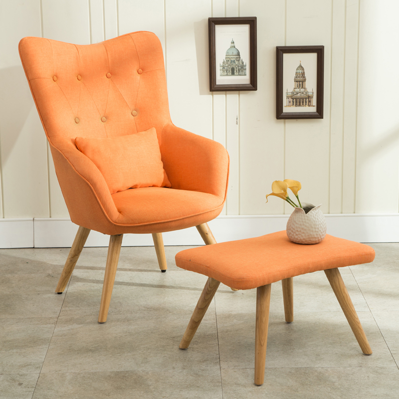 Mid Century Modern Armchair And Footstool Set In Linen Upholstery Living  Room Furniture Occasional Accent Chair With Ottoman