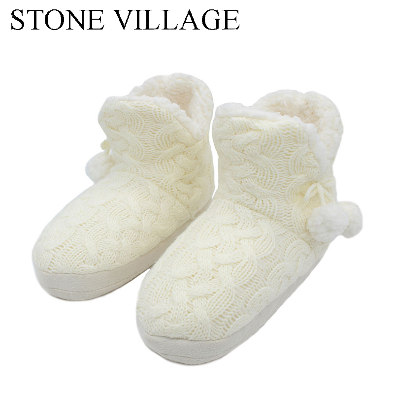 STONE VILLAGE New Quality Winter Warm Home Slippers Adult Women Household Slipper Soft Non-Slip Short Plush Indoor Floor Shoes soft plush big feet pattern winter slippers