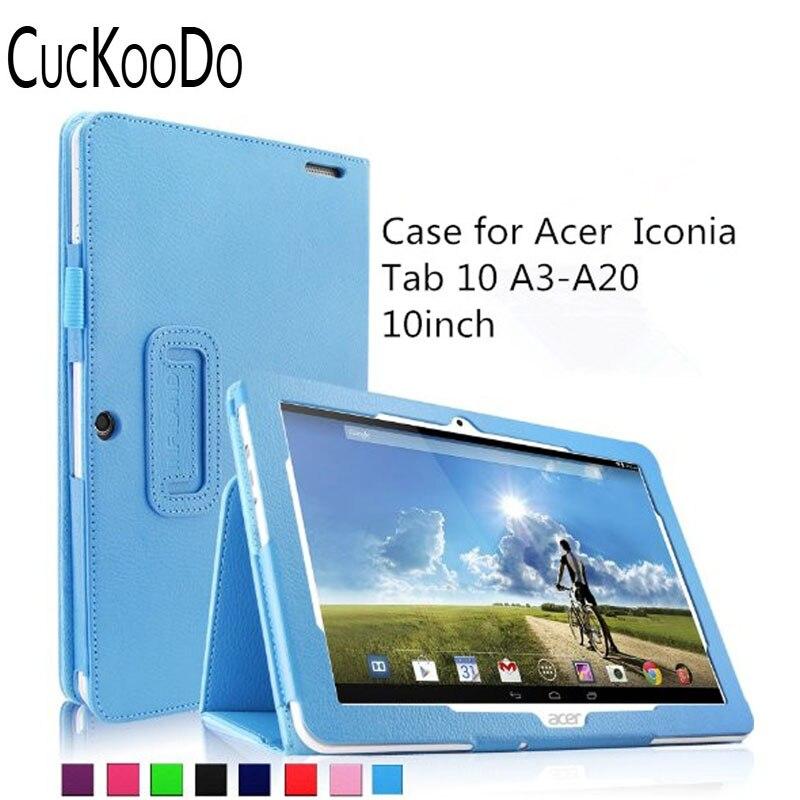 Clawr côt ffolio ffolio cucKooDo PU lledr fain gorchudd achos ar gyfer Tab Iconia Acer 10 Dabled HD A3-A20 10.1-Inch (Acer Iconia Tab 10 A3-A20)