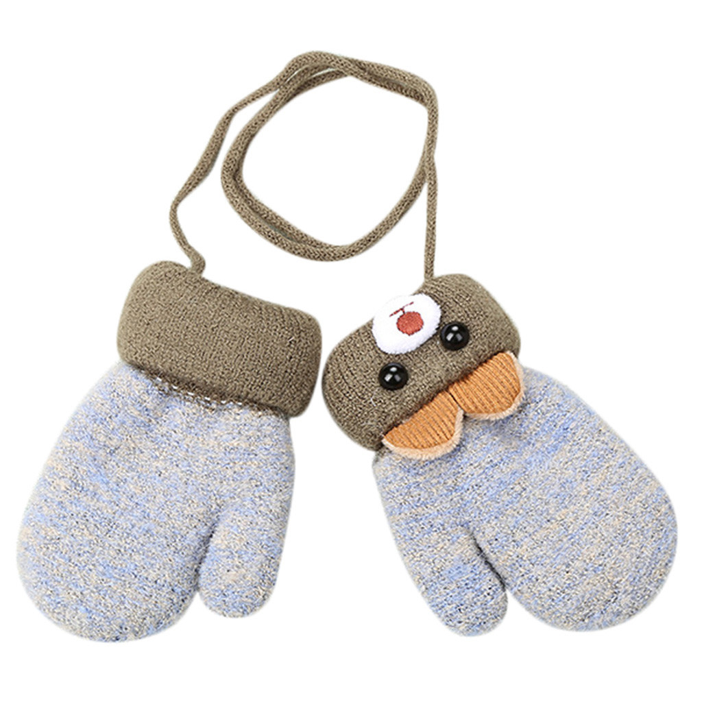 Gloves & Mittens Kids Winter Knitted Gloves Cute Cartoon Bear Hang Neck Mittens Newborn Unisex Baby Warm Mittens Thicken Cashmere with Rope Mitten Thermal Full Finger Wrist Glove Boy Girls 0-3 Years Gift Baby Products